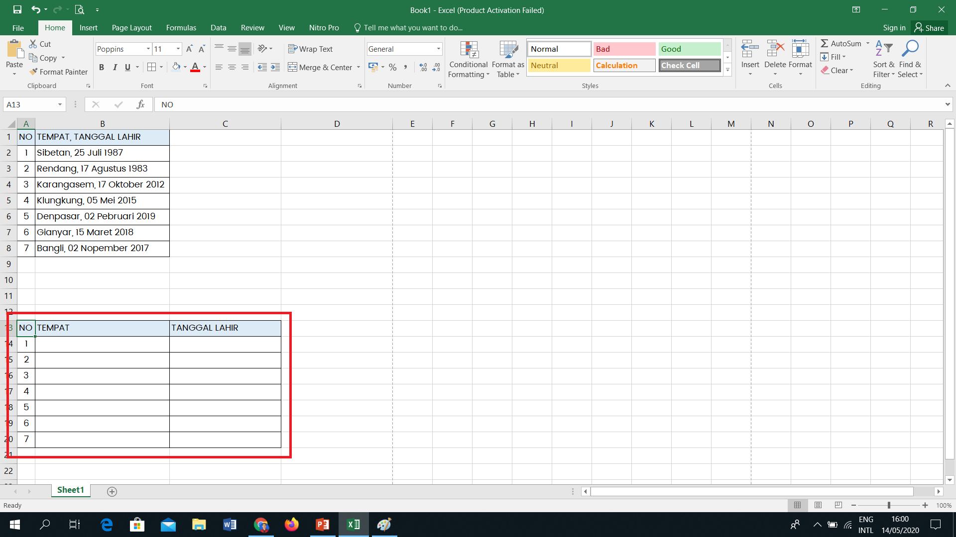 Memisahkan Data Tabel Excell