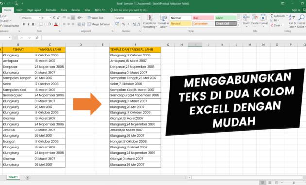Menggabungkan Teks di Excell